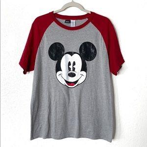 Disney Large Mickey face Baseball tee red gray M